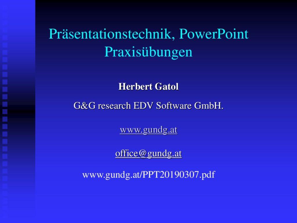 Präsentationstechnik, PowerPoint Praxisübungen